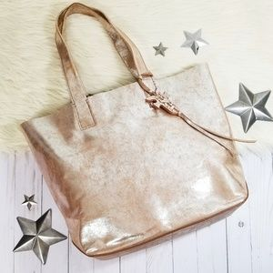 Frye Carson tote bag metallic gold leather large